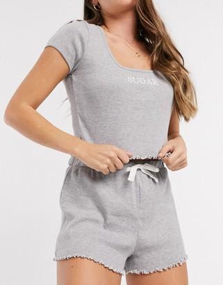 Topshop lettuce edge pyjama set in grey