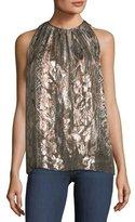 Elie Tahari Gigi Sleeveless Printed Metallic Silk-Blend Top