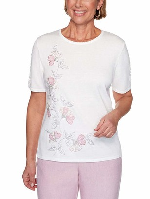 Alfred Dunner Women's Petite Asymmetric Floral Applique Sweater
