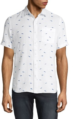 Saks Fifth Avenue Printed Linen Short-Sleeve Shirt