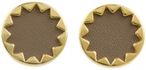 House Of Harlow Sunburst Button Earrings with Khaki Leather