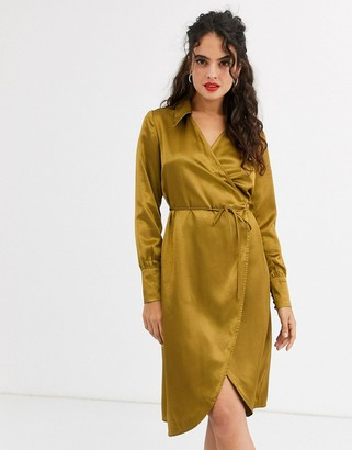 UNIQUE21 wrap dress with large collar-Green