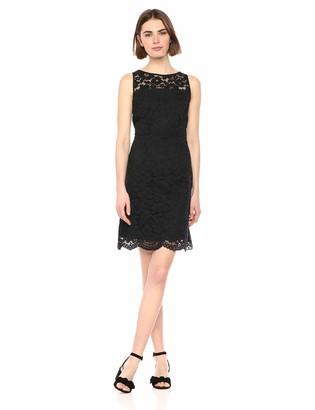 Lark & Ro Amazon Brand Women's Sleeveless Crew Neck Lace Sheath Dress