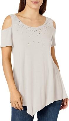 Star Vixen Women's Petite Str Rayon/Span Sslv Cold Shoulder Top W Gld/SIL Trim