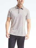 Banana Republic Stripe Linen Stretch Polo