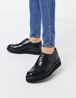 Grenson Emily flatform welt brogue in black leather with black sole