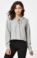 La Hearts Lace-Up Cropped Hoodie