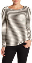 Susina Long Sleeve Boatneck Striped Tee (Petite)