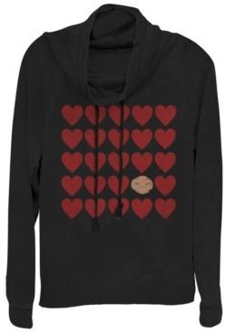 Fifth Sun E.t. Valentines Heart Grid Head Shot Cowl Neck Sweater