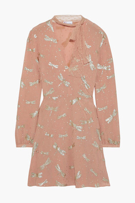 RED Valentino Tie-neck Glitter-embellished Silk-crepe Mini Dress