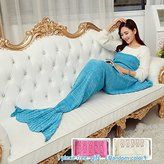 "Think-plus Christmas Mermaid Tail Blanket Handmade Crochet and Mermaid Blanket, Super Warm Soft All Seasons Living Room Sleeping Blankets Bag, Best Christmas gift For Kids Adult (71""x35.5"",blue)"