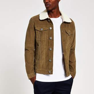River Island Light brown borg collar cord jacket