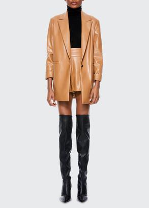 Alice + Olivia Dunn Vegan-Leather Rolled-Cuff Blazer