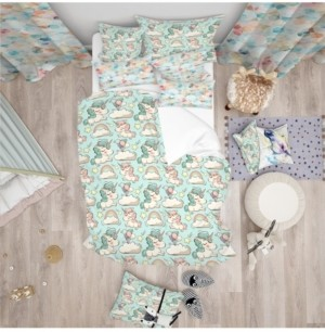 Design Art Designart 'Pattern With Cute Unicorns And Clouds' Modern Kids Duvet Cover Set - Queen Bedding