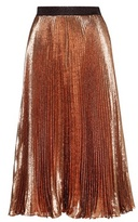 Christopher Kane Exclusive To Mytheresa.com – Pleated Metallic Silk-blend Skirt