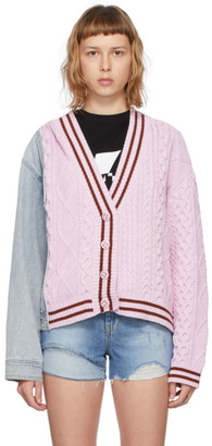 Sjyp Blue and Pink Denim Mixed Knit Cardigan