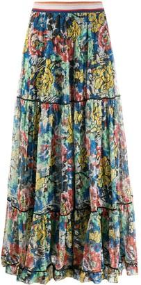 Missoni Floral-Pattern Tiered Maxi-Skirt