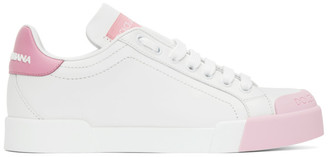 Dolce & Gabbana White and Pink Portofino Sneakers