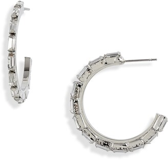 CRISTABELLE Crystal Baguette Hoop Earrings
