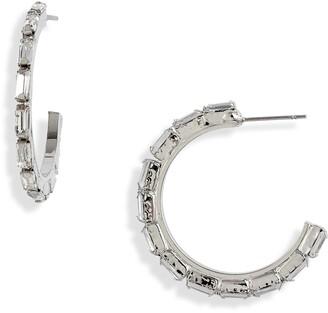 CRISTABELLE Crystal Baguette Hoop Earrings