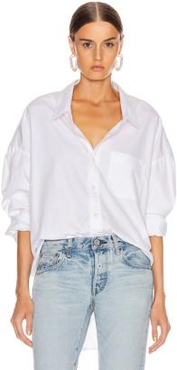 R 13 Drop Neck Oxford Shirt in White | FWRD