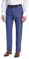 Zanella Plaid Linen Flat-Front Straight-Leg Trousers, Blue