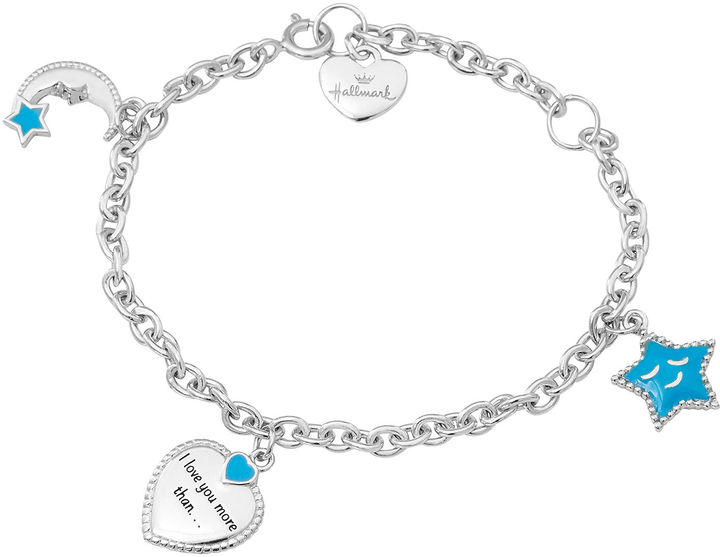 Hallmark Kids Sterling Silver Enamel Moon and Stars Charm Bracelet
