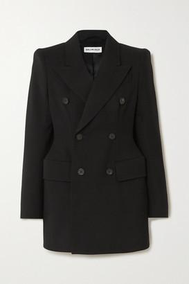Balenciaga Hourglass Double-breasted Wool-twill Blazer - Black