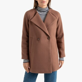 La Redoute Collections Straight Cut Short Coat with Pockets and Double-Breasted Buttons