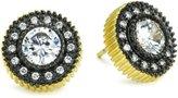 Freida Rothman Classics Two-Tone Framed Solitaire Stud Earrings