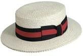 Scala Men's Straw Boater Hat - White