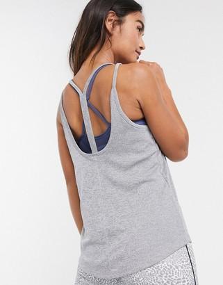 Nike Training Nike Yoga strappy ribbed tank in grey