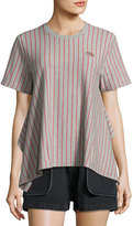 Opening Ceremony Short-Sleeve Striped Jersey Tee, Gray