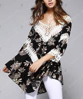 Chateau Amour Women's Tunics Black - Black & White Floral Crochet V-Neck Tunic - Women