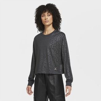 Nike Women's Long-Sleeve Leopard Top Jordan Court-To-Runway
