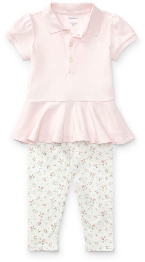 Ralph Lauren Peplum-Hem Polo w/ Floral-Print Leggings, Size 9-24 Months