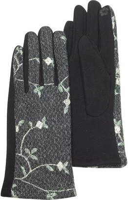 Julia Cocco' Dark Gray/Black Floral Embroidered Touchscreen Women's Gloves