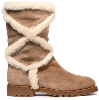 Roger Vivier Shearling-trimmed Suede Snow Boots