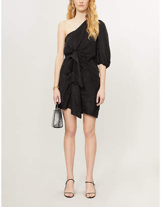 Designers Remix Ruby tiger-print one-shoulder woven mini dress