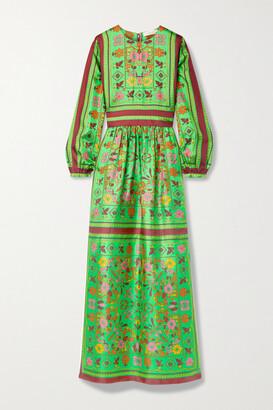 Tory Burch - Printed Silk-twill Maxi Dress - Green