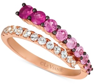 LeVian Le Vian Strawberry Layer Cake Multi-Gemstone Ombre Wrap Ring (1-1/8 ct. t.w.) in 14k Rose Gold