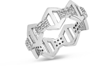 Sterling Forever Hexagon Anchor Chain Ring