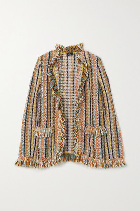 Etro Fringed Striped Knitted Cardigan - Beige