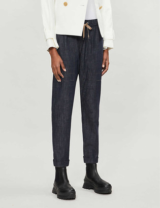 Brunello Cucinelli High-rise straight drawstring waist denim trousers