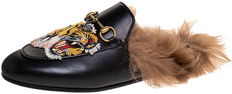 Gucci Black Tiger Embroidered Leather and Fur Lined Princetown Mules Size 38
