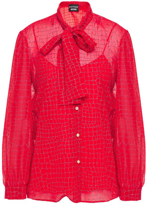 Boutique Moschino Pussy-bow Glittered Georgette Blouse