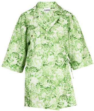 Ganni Printed cotton wrap shirt