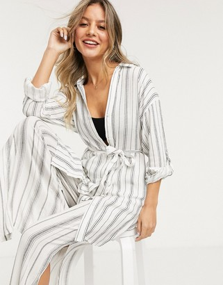 New Look stripe beach shirt in white