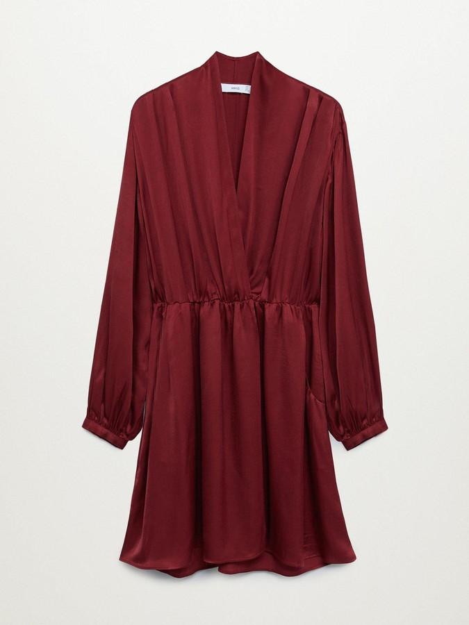 MANGO V-Neck Skater Dress - Dark Red