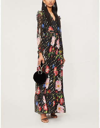 Ted Baker Berry Sundae metallic-flecked floral-print chiffon maxi dress